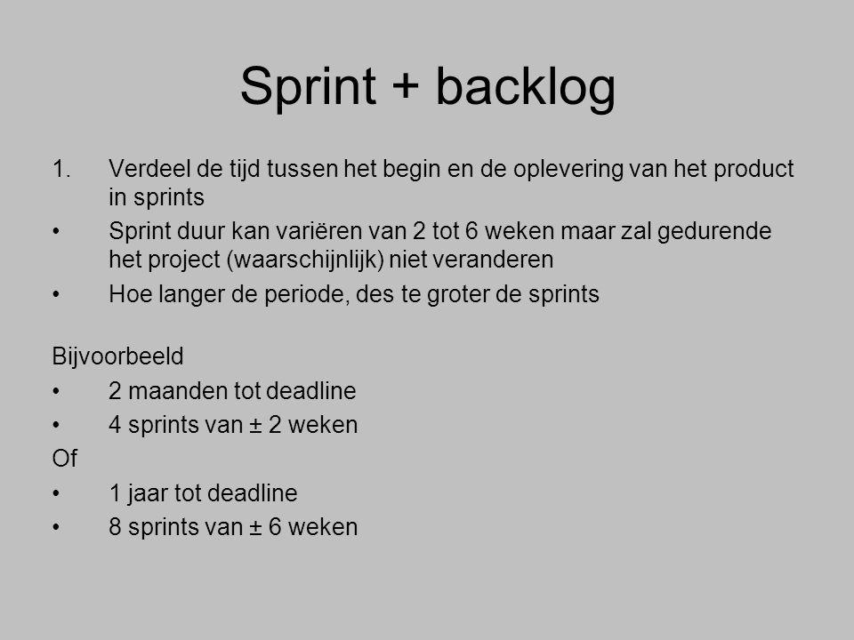 2.Pak uit de Product Backlog de taken die je schat in de sprint te kunnen doen (1 taak per dag per persoon x hoeveel werkdagen per week x hoeveel weken in je sprint = ± aantal taken) 3.Elke taak (1 werkdag groot, zo niet: aangegeven) duidelijk op 1 post-it Gebruik dikke stiften zodat je het vanaf je werkplek kunt lezen 4.Verander de Sprint backlog niet Maar je kan wel rekening houden met het uitlopen van taken e.d.