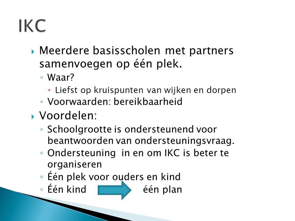  Meerdere basisscholen met partners samenvoegen op één plek.