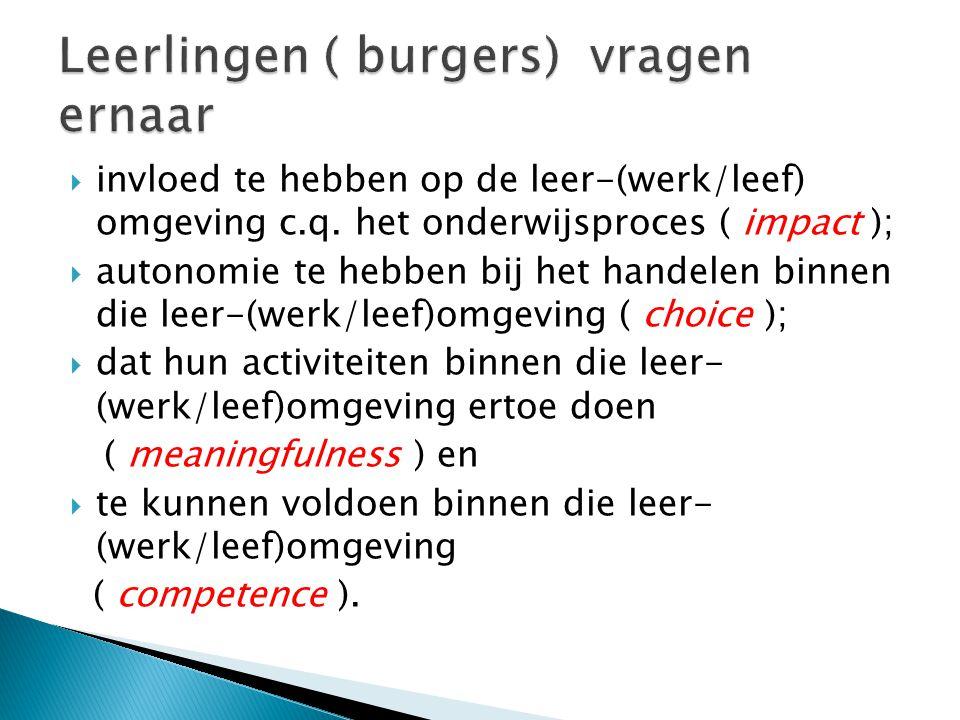  invloed te hebben op de leer-(werk/leef) omgeving c.q.