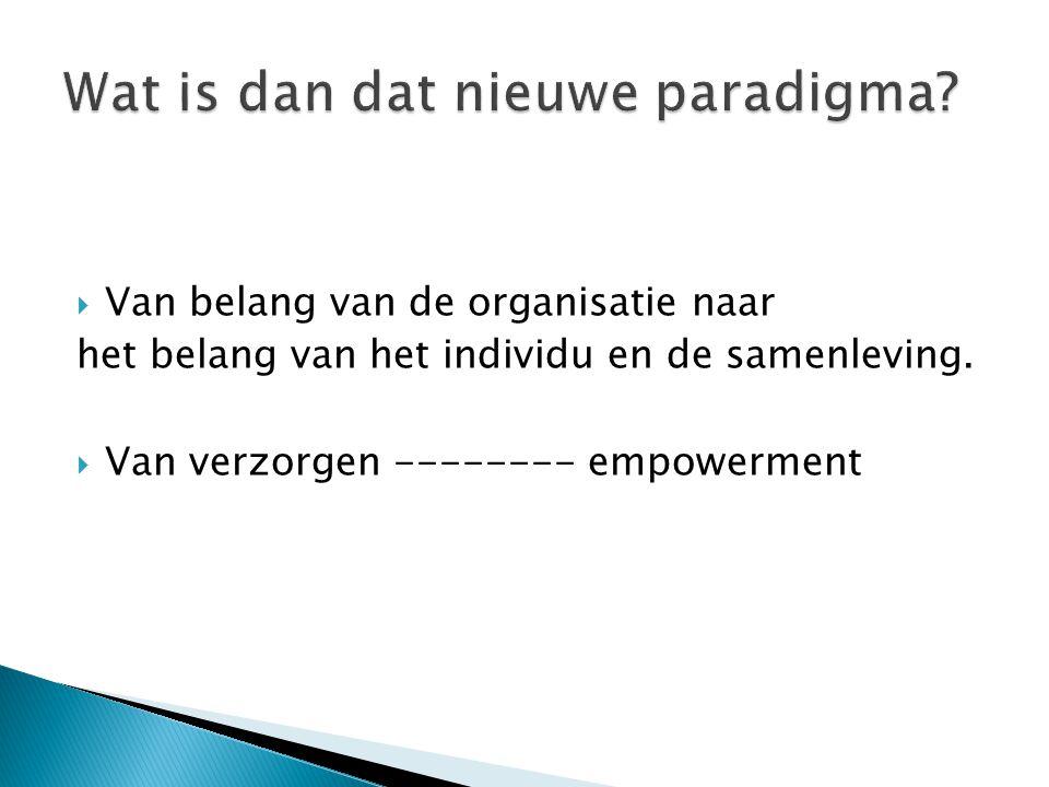 Van belang van de organisatie naar het belang van het individu en de samenleving.