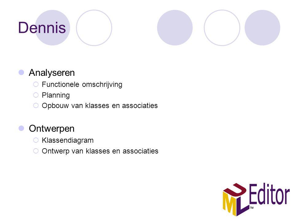 Dennis Analyseren  Functionele omschrijving  Planning  Opbouw van klasses en associaties Ontwerpen  Klassendiagram  Ontwerp van klasses en associaties