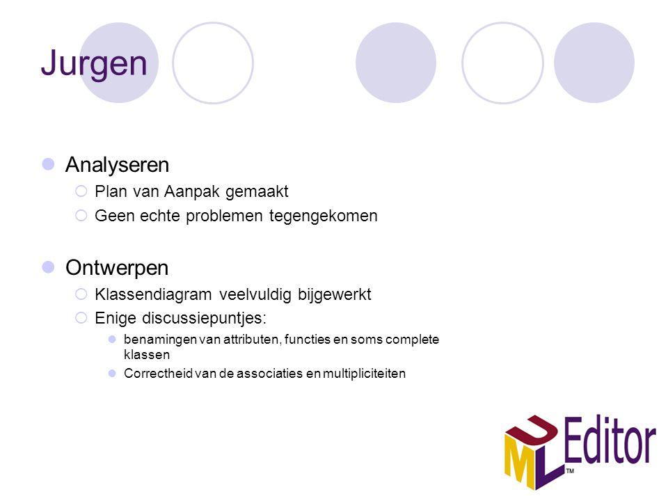 Jurgen Analyseren  Plan van Aanpak gemaakt  Geen echte problemen tegengekomen Ontwerpen  Klassendiagram veelvuldig bijgewerkt  Enige discussiepunt