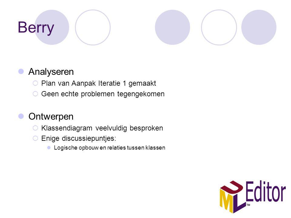 Berry Analyseren  Plan van Aanpak Iteratie 1 gemaakt  Geen echte problemen tegengekomen Ontwerpen  Klassendiagram veelvuldig besproken  Enige discussiepuntjes: Logische opbouw en relaties tussen klassen