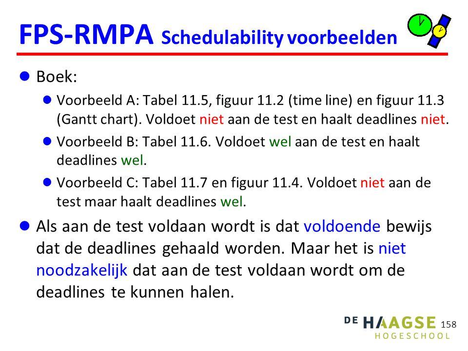158 FPS-RMPA Schedulability voorbeelden Boek: Voorbeeld A: Tabel 11.5, figuur 11.2 (time line) en figuur 11.3 (Gantt chart). Voldoet niet aan de test