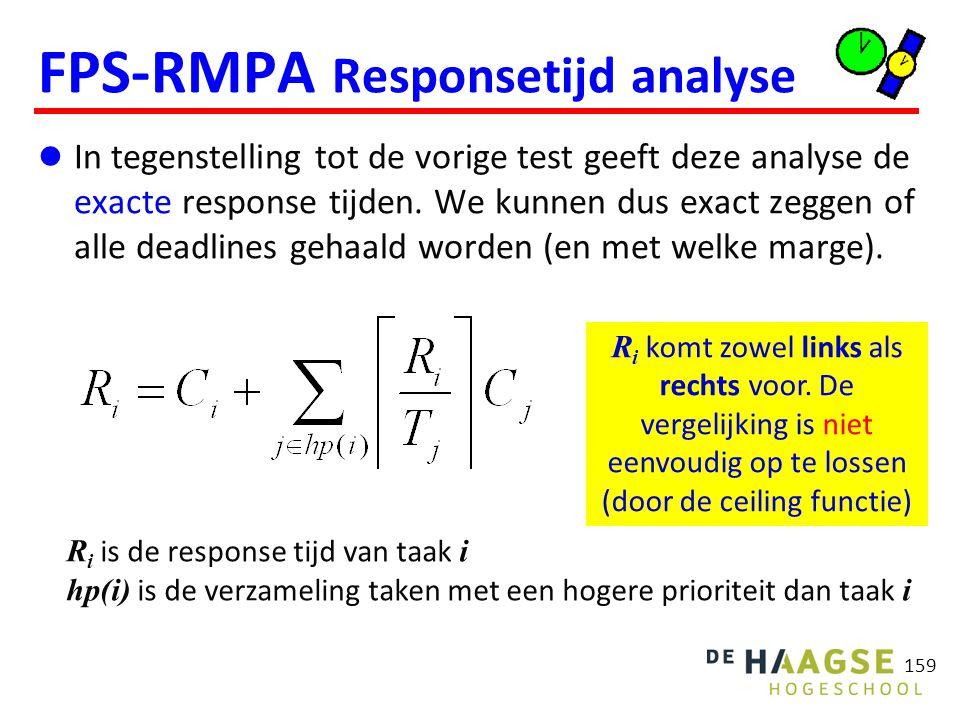 159 FPS-RMPA Responsetijd analyse In tegenstelling tot de vorige test geeft deze analyse de exacte response tijden. We kunnen dus exact zeggen of alle