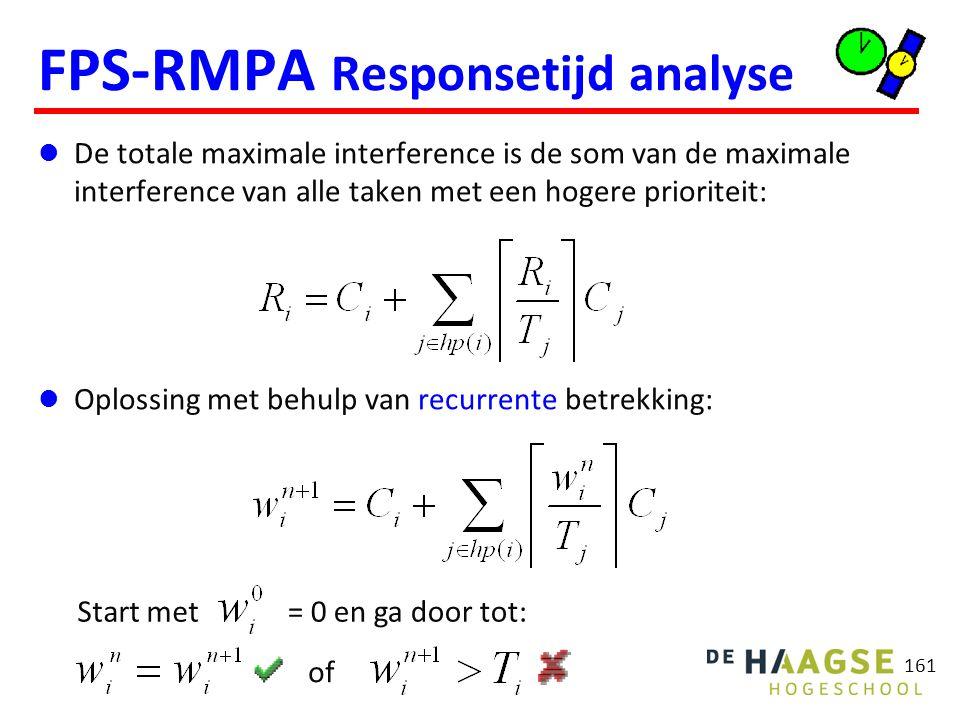 161 FPS-RMPA Responsetijd analyse De totale maximale interference is de som van de maximale interference van alle taken met een hogere prioriteit: Opl