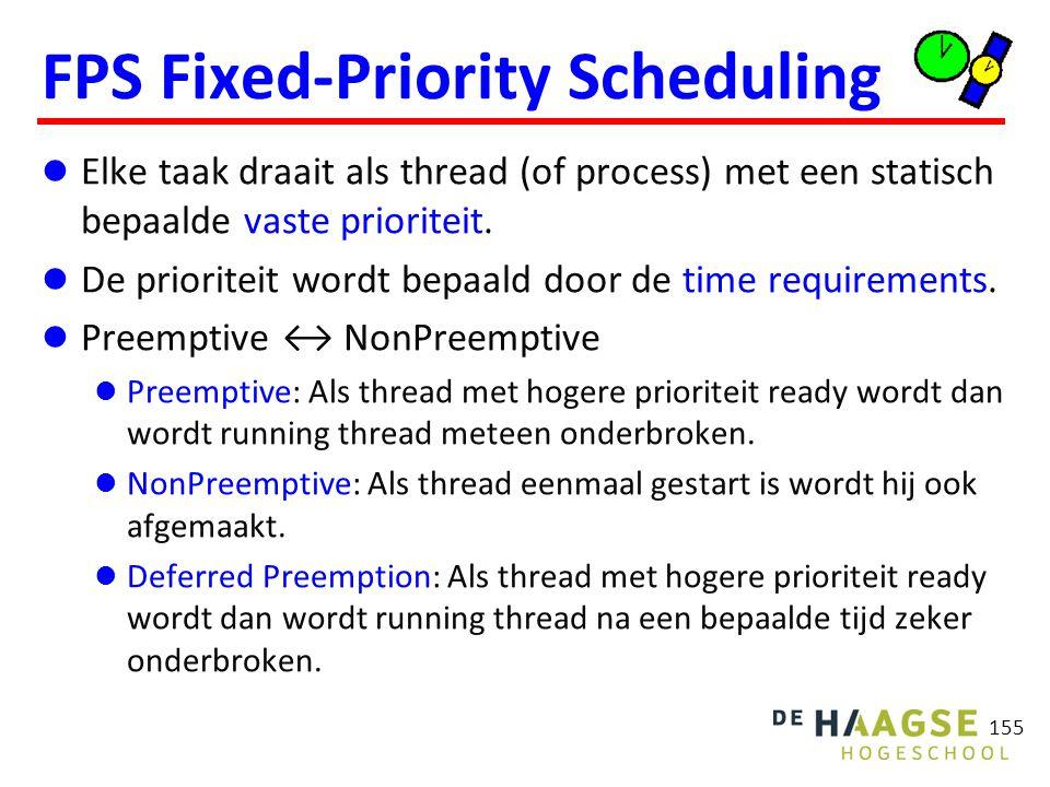 155 FPS Fixed-Priority Scheduling Elke taak draait als thread (of process) met een statisch bepaalde vaste prioriteit. De prioriteit wordt bepaald doo