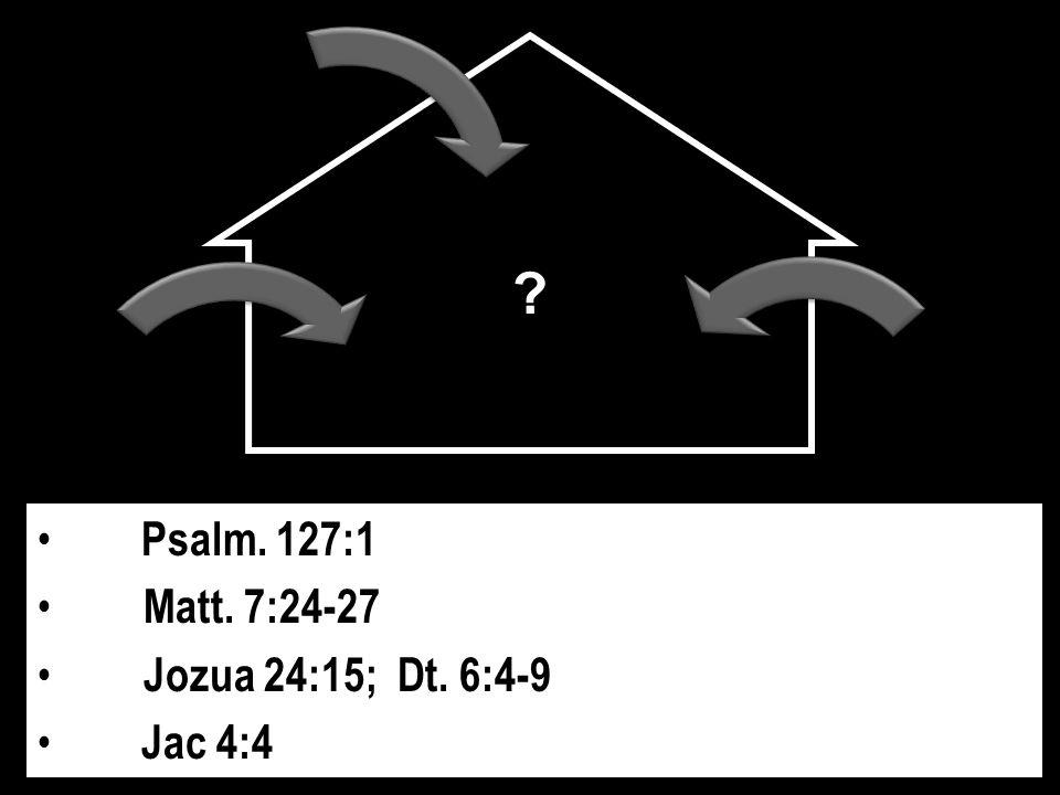 Psalm. 127:1 Matt. 7:24-27 Jozua 24:15; Dt. 6:4-9 Jac 4:4