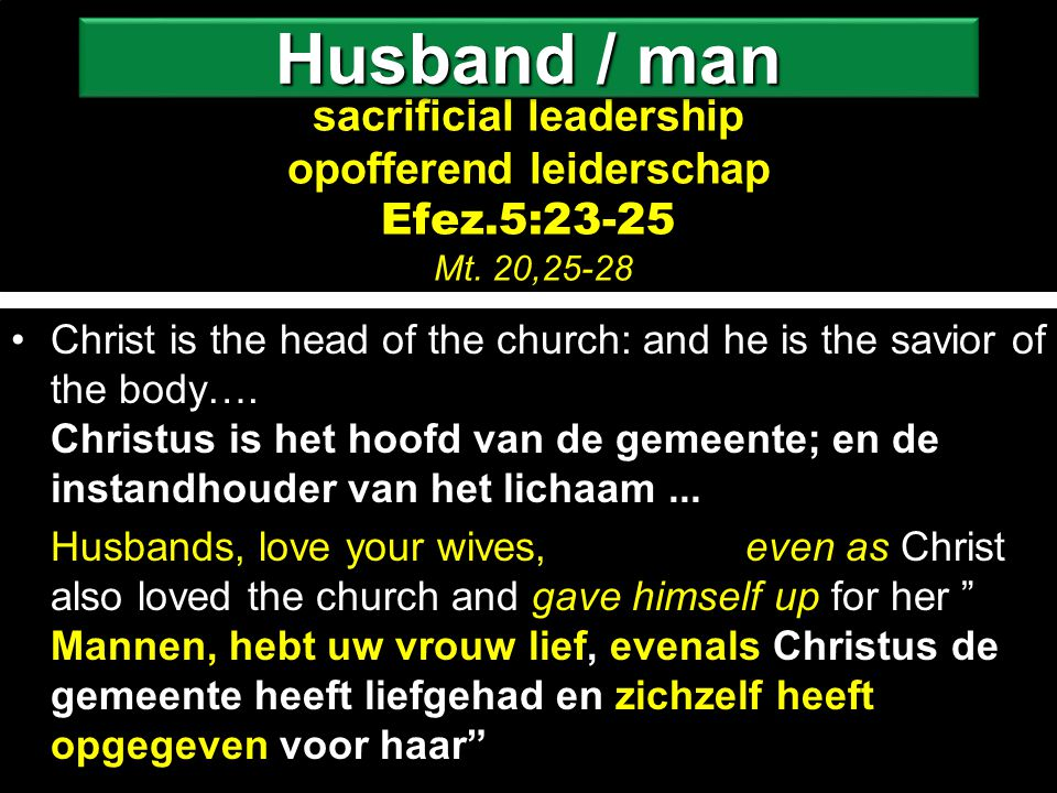 sacrificial leadership opofferend leiderschap sacrificial leadership opofferend leiderschap Efez.5:23-25 Mt.