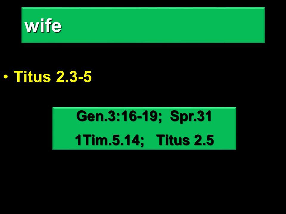 Titus 2.3-5wifewife Gen.3:16-19; Spr.31 1Tim.5.14; Titus 2.5 Gen.3:16-19; Spr.31 1Tim.5.14; Titus 2.5