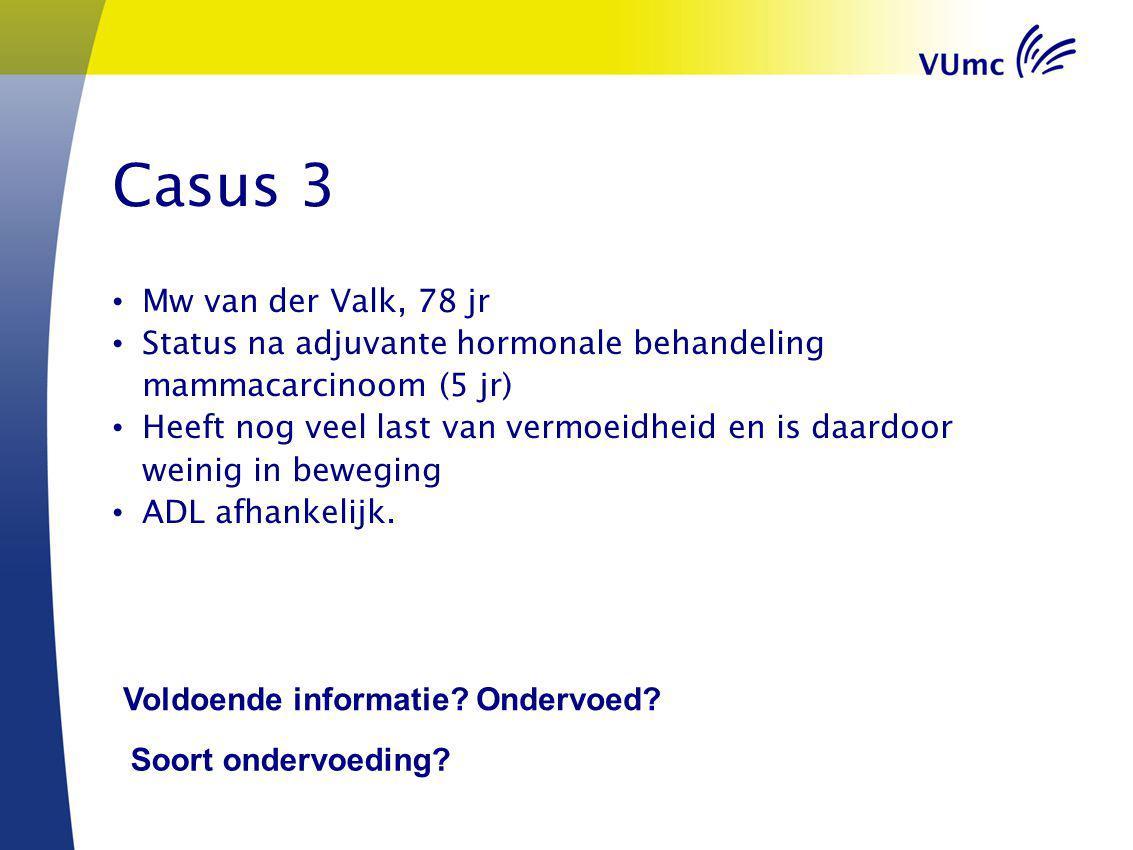 Casus 3 Mw van der Valk, 78 jr Status na adjuvante hormonale behandeling mammacarcinoom (5 jr) Heeft nog veel last van vermoeidheid en is daardoor wei