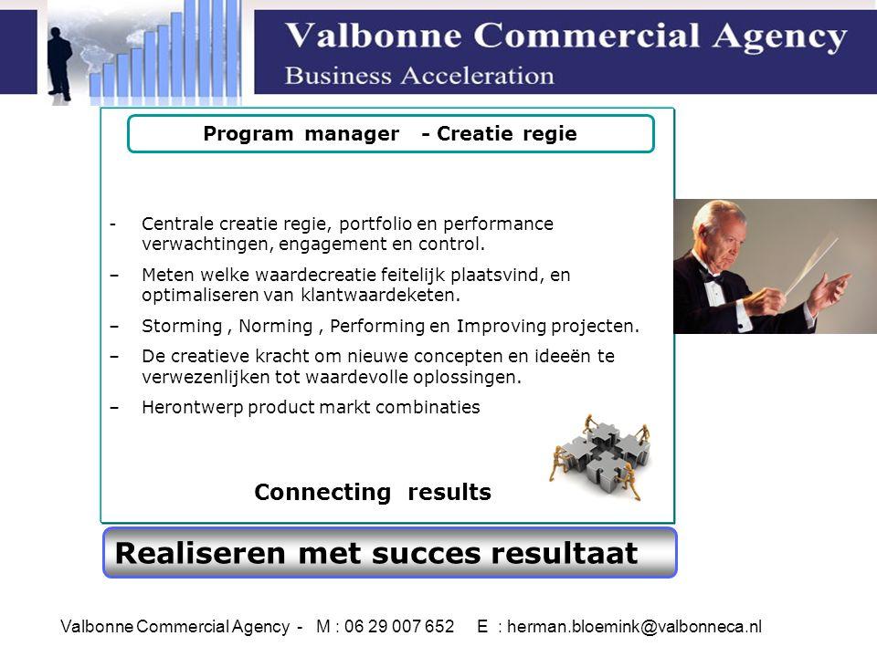 Realiseren met succes resultaat -Centrale creatie regie, portfolio en performance verwachtingen, engagement en control.
