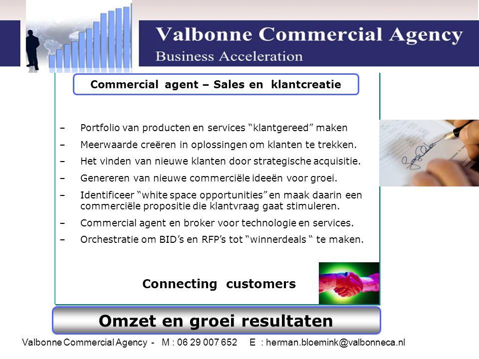 Omzet en groei resultaten – Portfolio van producten en services klantgereed maken – Meerwaarde creëren in oplossingen om klanten te trekken.
