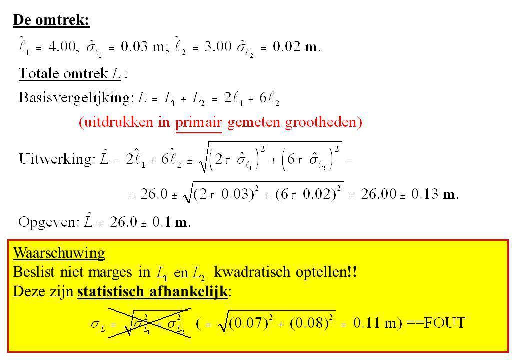 Waarschuwing Beslist niet marges in kwadratisch optellen!! Deze zijn statistisch afhankelijk: