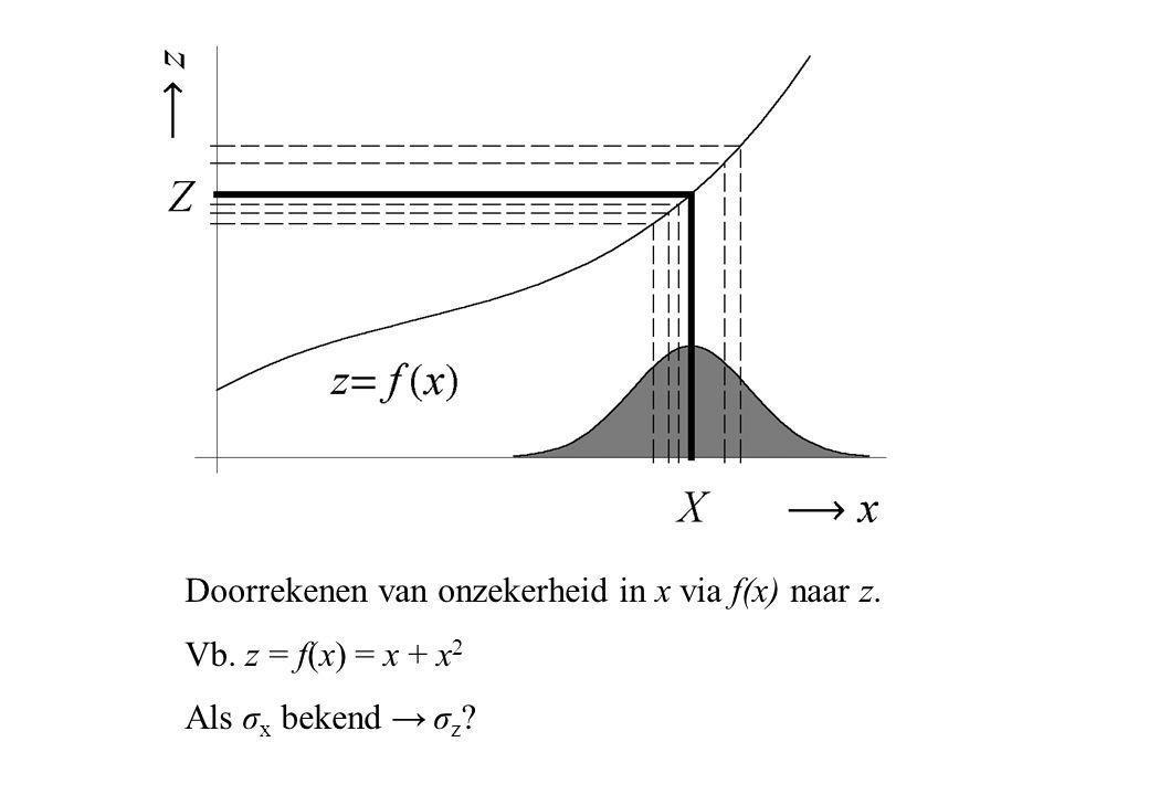 Doorrekenen van onzekerheid in x via f(x) naar z. Vb. z = f(x) = x + x 2 Als σ x bekend → σ z ?
