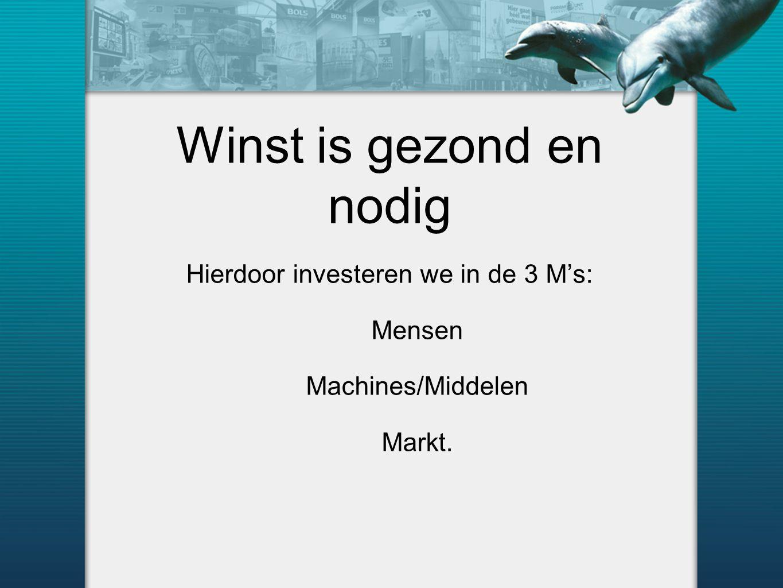Winst is gezond en nodig Hierdoor investeren we in de 3 M's: Mensen Machines/Middelen Markt.