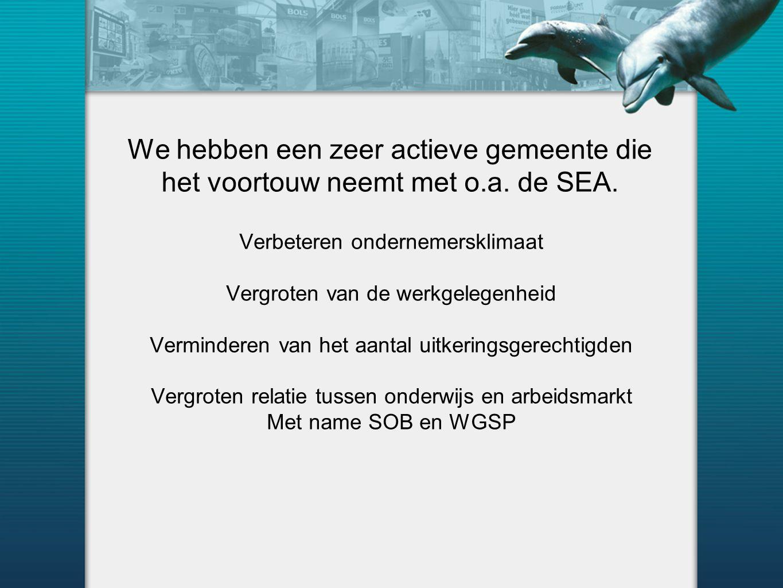 We hebben een zeer actieve gemeente die het voortouw neemt met o.a. de SEA. Verbeteren ondernemersklimaat Vergroten van de werkgelegenheid Verminderen