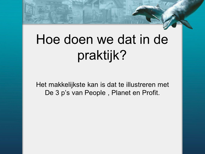 Hoe doen we dat in de praktijk? Het makkelijkste kan is dat te illustreren met De 3 p's van People, Planet en Profit.