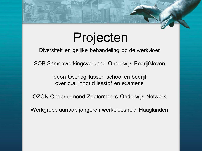 Projecten Diversiteit en gelijke behandeling op de werkvloer SOB Samenwerkingsverband Onderwijs Bedrijfsleven Ideon Overleg tussen school en bedrijf over o.a.