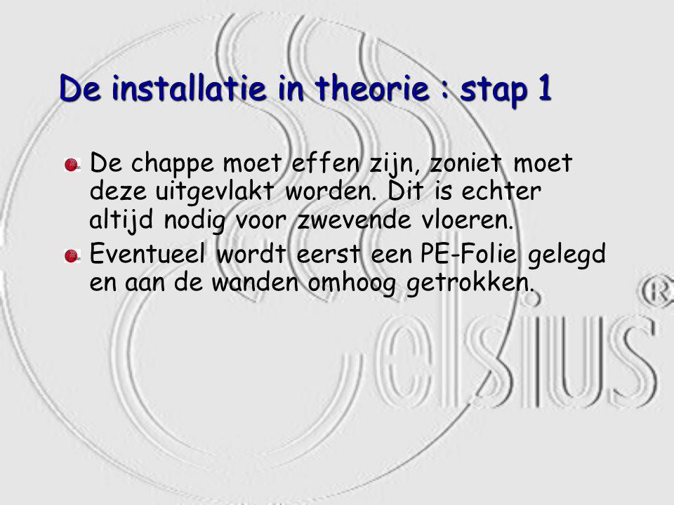 De installatie in theorie : stap 1 De chappe moet effen zijn, zoniet moet deze uitgevlakt worden. Dit is echter altijd nodig voor zwevende vloeren. Ev