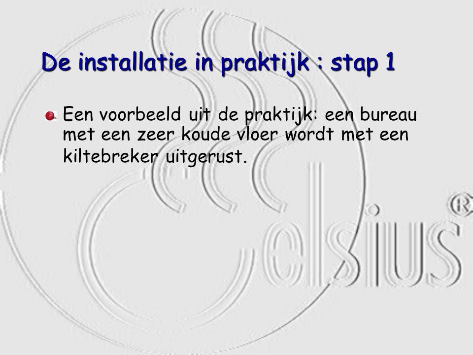 De installatie in praktijk : stap 1 Een voorbeeld uit de praktijk: een bureau met een zeer koude vloer wordt met een kiltebreker uitgerust.
