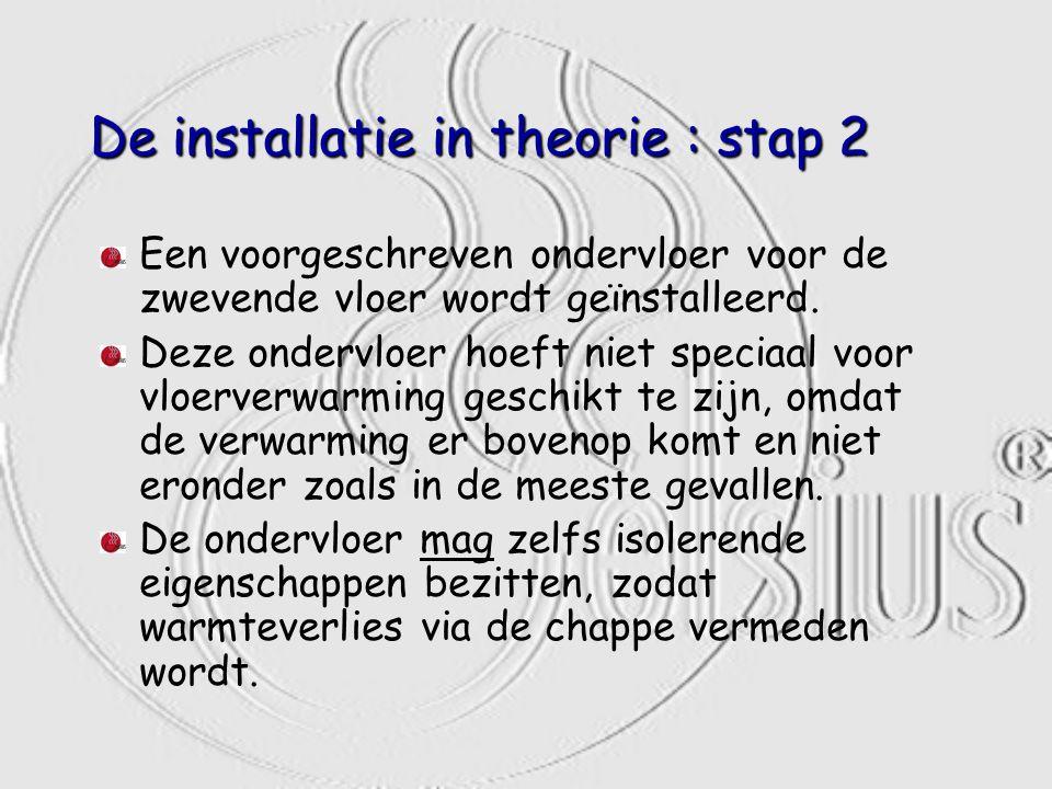 De installatie in theorie : stap 2 Een voorgeschreven ondervloer voor de zwevende vloer wordt geïnstalleerd. Deze ondervloer hoeft niet speciaal voor