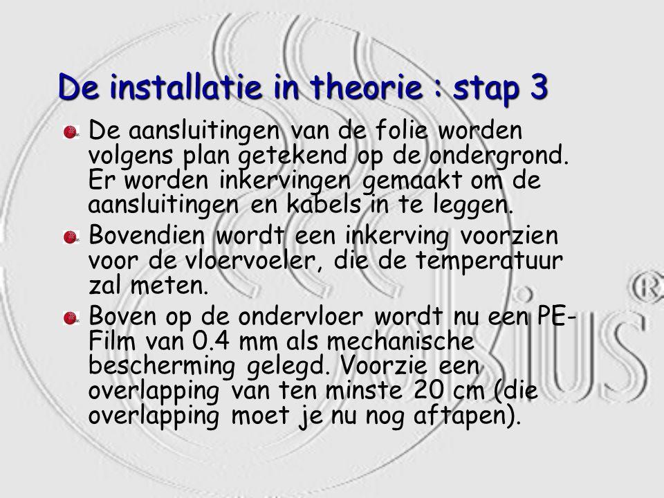 De installatie in theorie : stap 3 De aansluitingen van de folie worden volgens plan getekend op de ondergrond. Er worden inkervingen gemaakt om de aa