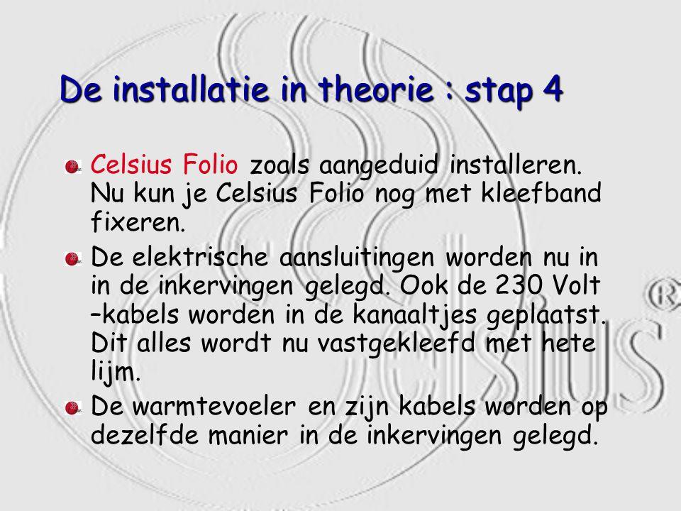 De installatie in theorie : stap 4 Celsius Folio zoals aangeduid installeren. Nu kun je Celsius Folio nog met kleefband fixeren. De elektrische aanslu