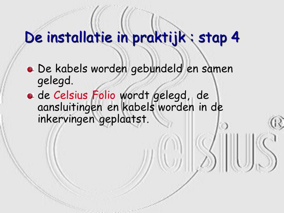 De installatie in praktijk : stap 4 De kabels worden gebundeld en samen gelegd. de Celsius Folio wordt gelegd, de aansluitingen en kabels worden in de