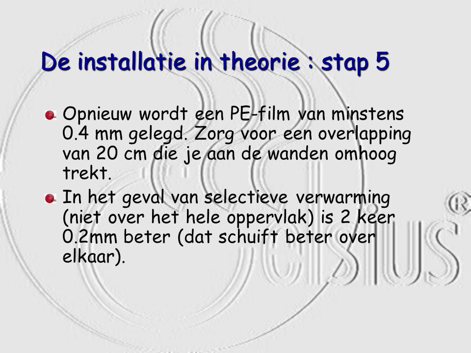 De installatie in theorie : stap 5 Opnieuw wordt een PE-film van minstens 0.4 mm gelegd. Zorg voor een overlapping van 20 cm die je aan de wanden omho