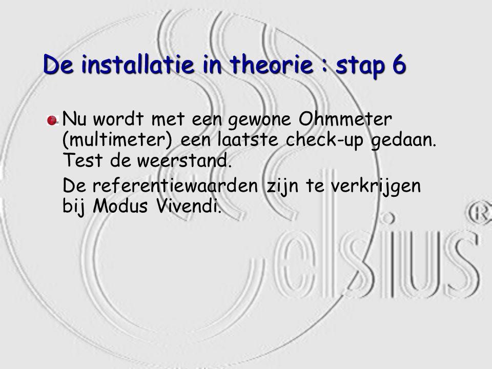 De installatie in theorie : stap 6 Nu wordt met een gewone Ohmmeter (multimeter) een laatste check-up gedaan. Test de weerstand. De referentiewaarden
