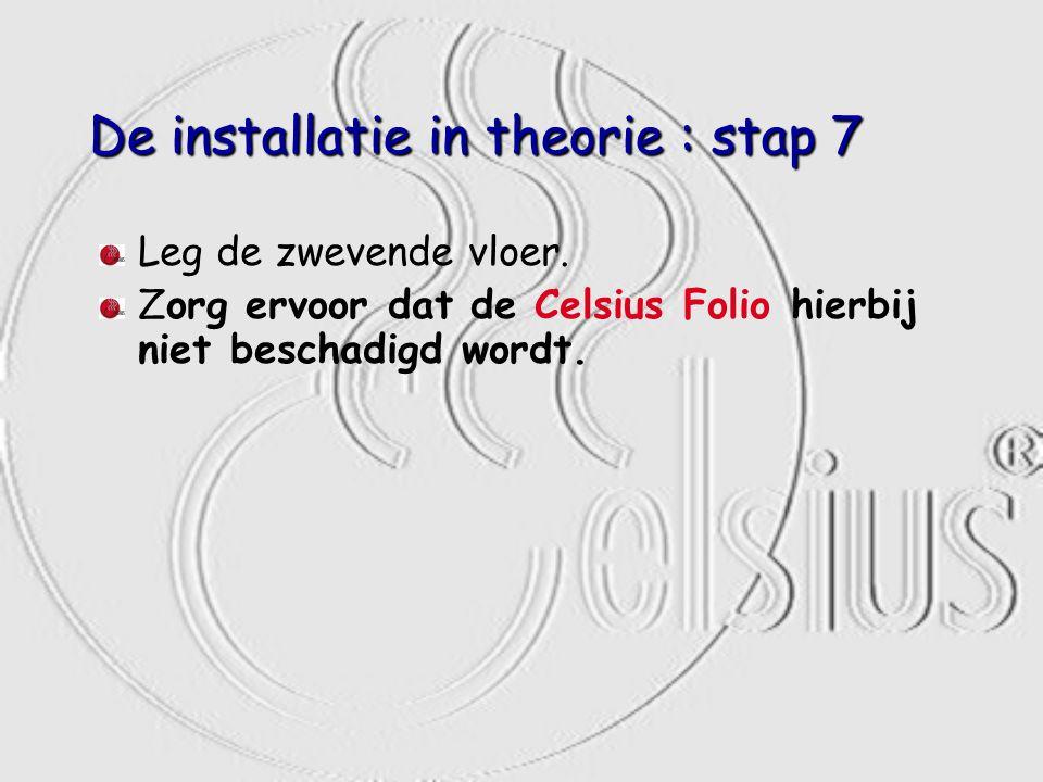 De installatie in theorie : stap 7 Leg de zwevende vloer. Zorg ervoor dat de Celsius Folio hierbij niet beschadigd wordt.