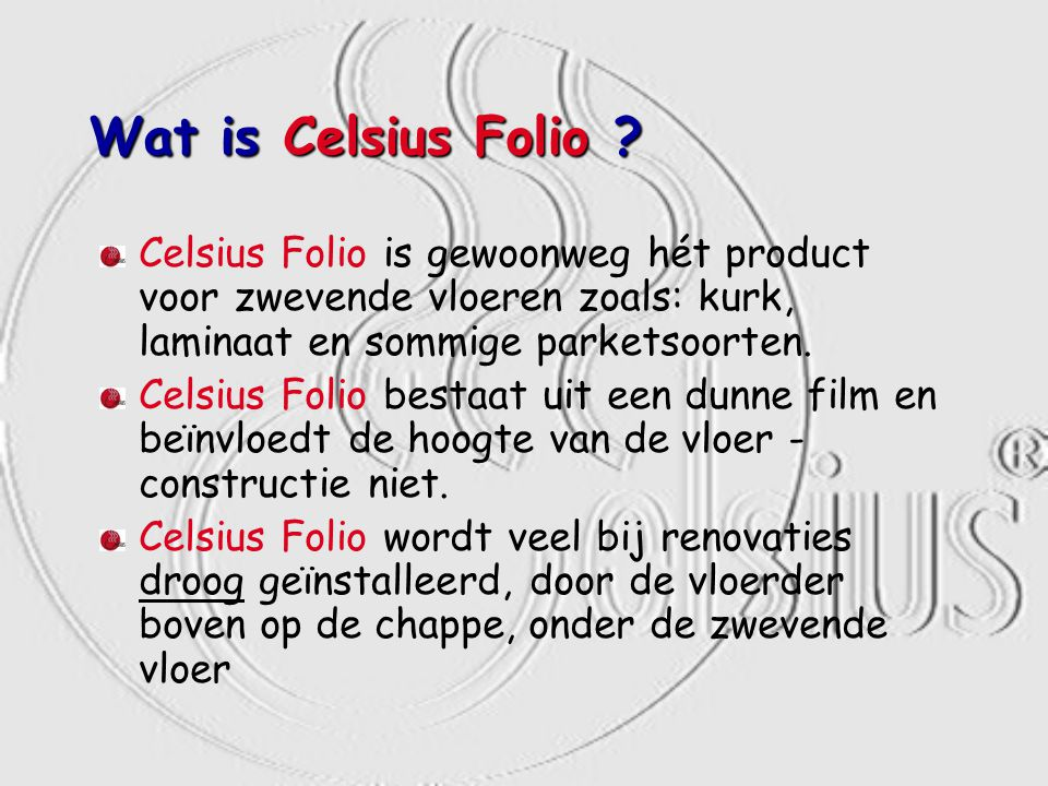 Wat is Celsius Folio .