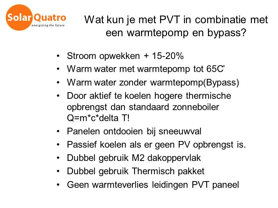 Wat kun je met PVT in combinatie met een warmtepomp en bypass? Stroom opwekken + 15-20% Warm water met warmtepomp tot 65C ͦ Warm water zonder warmtepo