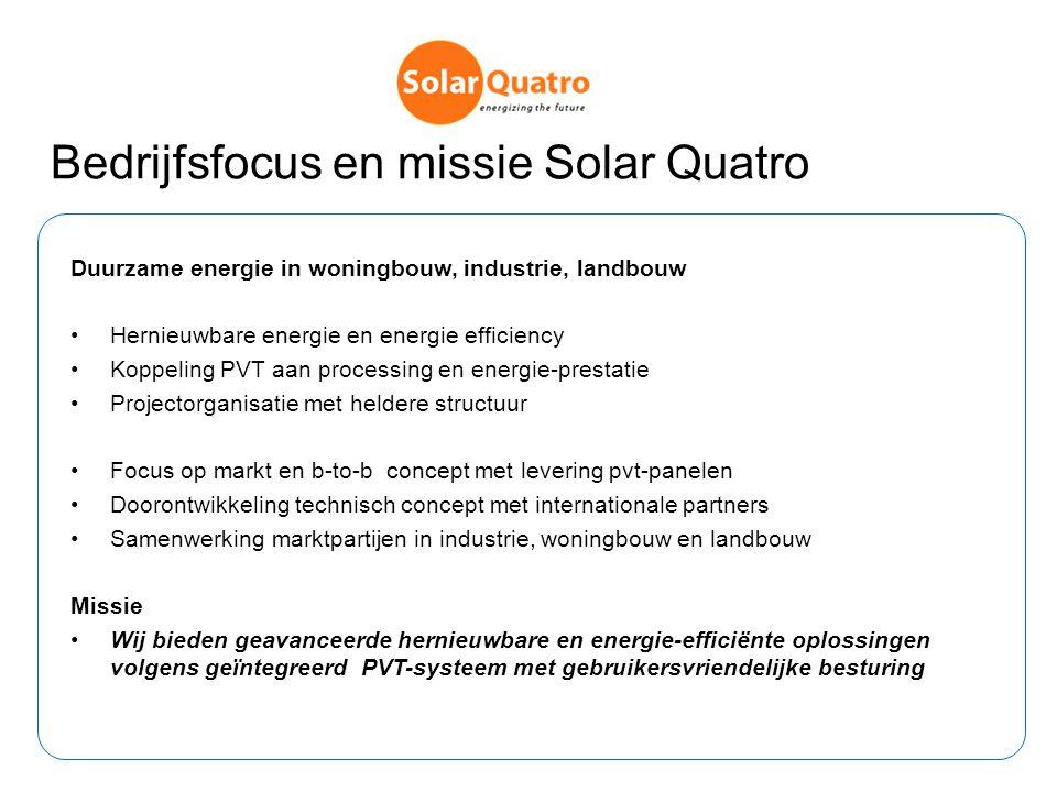 Bedrijfsfocus en missie Solar Quatro Duurzame energie in woningbouw, industrie, landbouw Hernieuwbare energie en energie efficiency Koppeling PVT aan