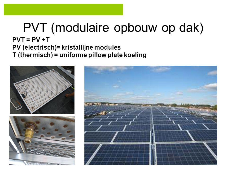 PVT (modulaire opbouw op dak) PVT = PV +T PV (electrisch)= kristallijne modules T (thermisch) = uniforme pillow plate koeling