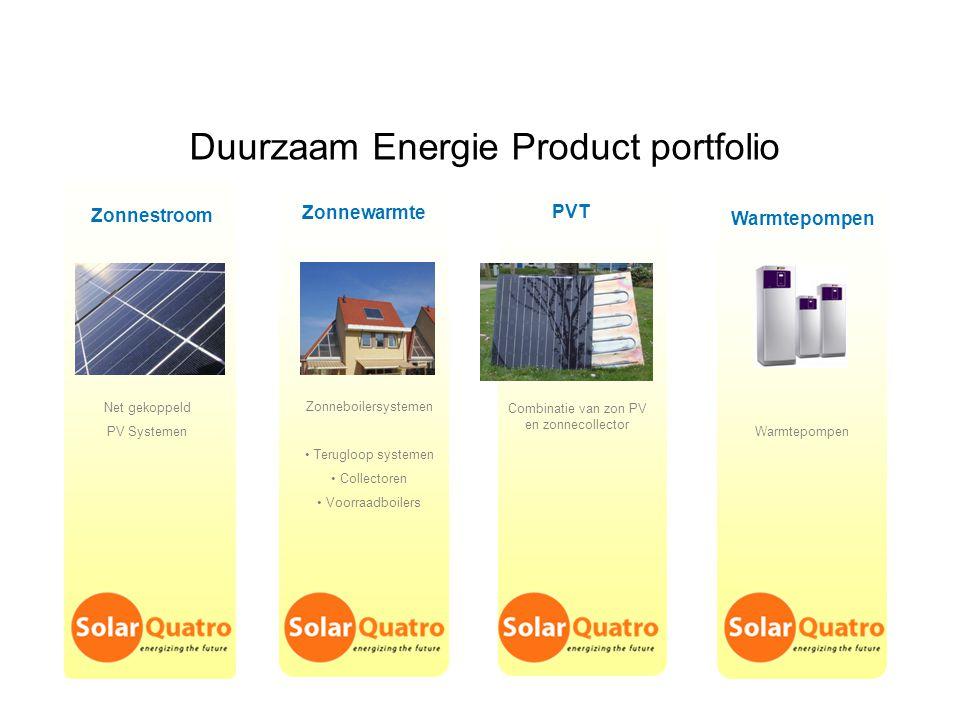 Duurzaam Energie Product portfolio Zonnestroom Zonnewarmte Warmtepompen Net gekoppeld PV Systemen Zonneboilersystemen Terugloop systemen Collectoren V