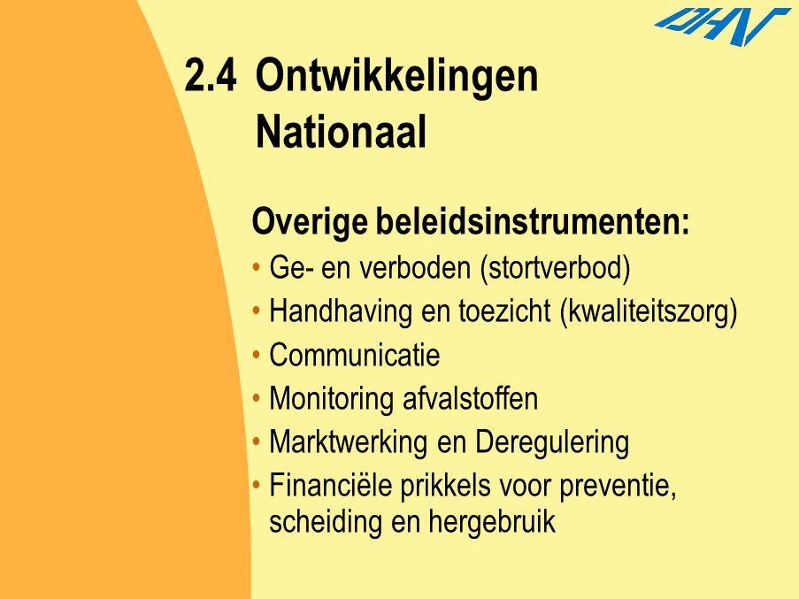 2.4Ontwikkelingen Nationaal Overige beleidsinstrumenten: Ge- en verboden (stortverbod) Handhaving en toezicht (kwaliteitszorg) Communicatie Monitoring