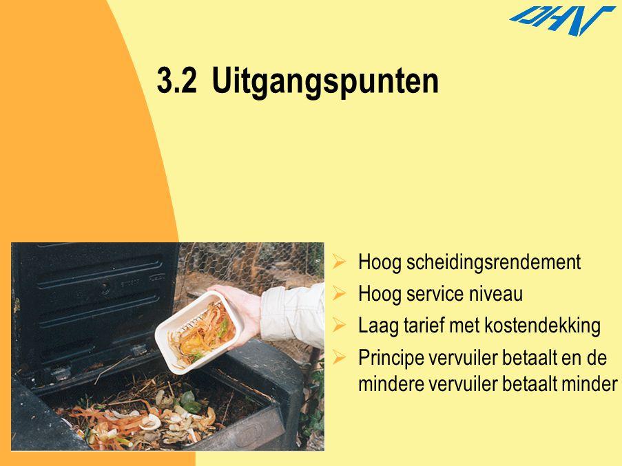 3.2Uitgangspunten  Hoog scheidingsrendement  Hoog service niveau  Laag tarief met kostendekking  Principe vervuiler betaalt en de mindere vervuile