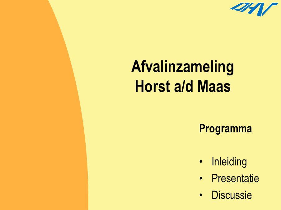 2.7Horst aan de Maas Kenmerken  Concentratie van nieuwe ontwikkelingen  Agri-business  Groot buitengebied  Hoog serviceniveau naar inwoners toe  Snel verwijderen afval  GFT afval is voornamelijk tuinafval