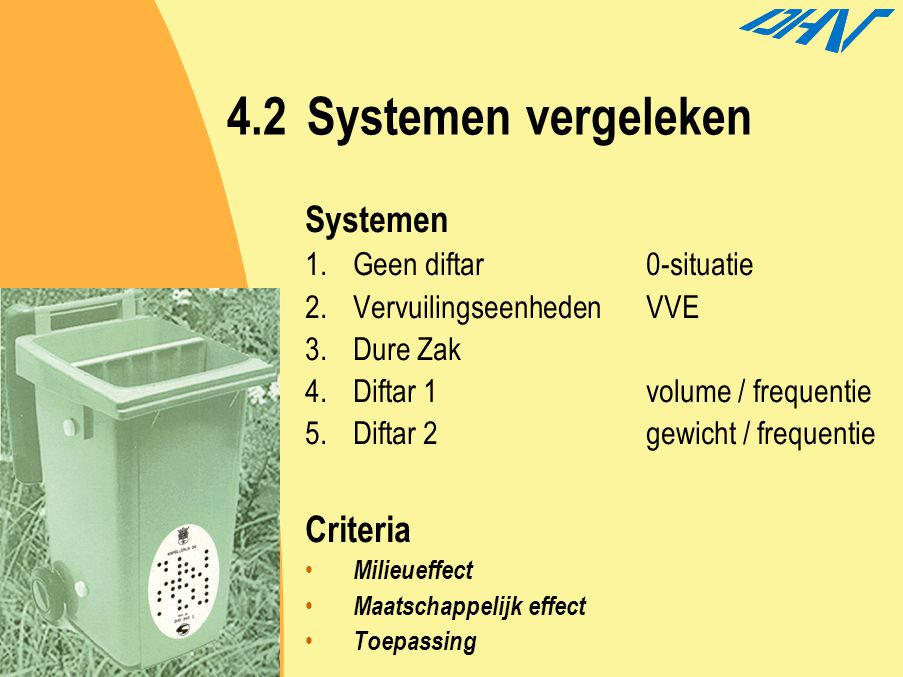 4.2Systemen vergeleken Systemen 1.Geen diftar 0-situatie 2.Vervuilingseenheden VVE 3.Dure Zak 4.Diftar 1volume / frequentie 5.Diftar 2gewicht / freque