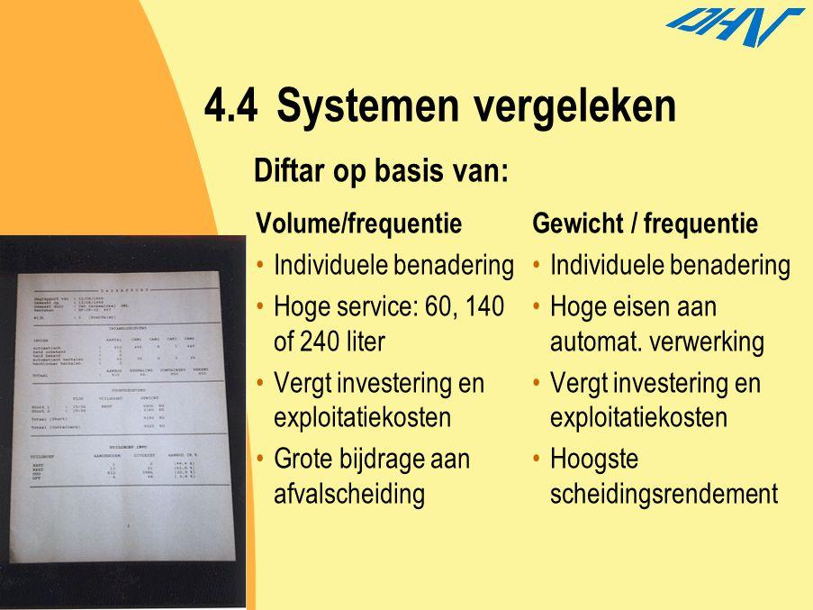 4.4Systemen vergeleken Volume/frequentie Individuele benadering Hoge service: 60, 140 of 240 liter Vergt investering en exploitatiekosten Grote bijdra