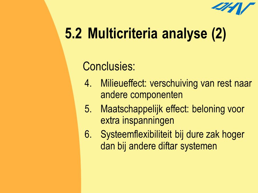 5.2Multicriteria analyse (2) 4.Milieueffect: verschuiving van rest naar andere componenten 5.Maatschappelijk effect: beloning voor extra inspanningen