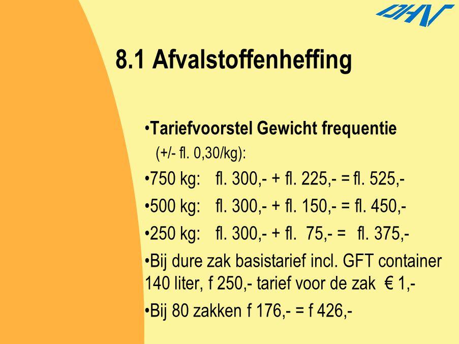 8.1 Afvalstoffenheffing Tariefvoorstel Gewicht frequentie (+/- fl. 0,30/kg): 750 kg:fl. 300,- + fl. 225,- =fl. 525,- 500 kg:fl. 300,- + fl. 150,- = fl