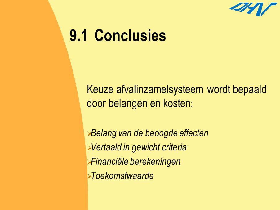 9.1Conclusies Keuze afvalinzamelsysteem wordt bepaald door belangen en kosten :  Belang van de beoogde effecten  Vertaald in gewicht criteria  Fina