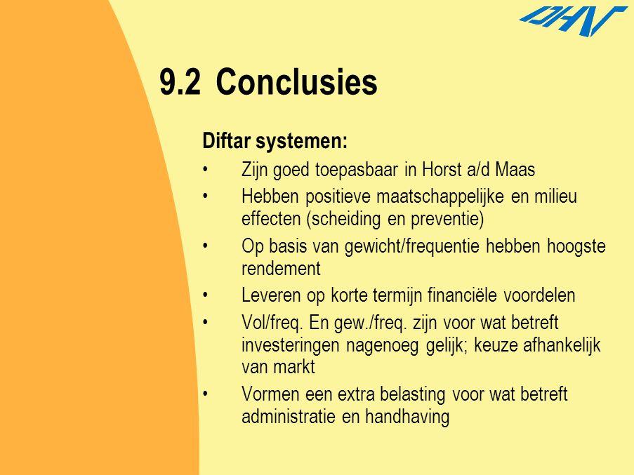 9.2Conclusies Diftar systemen: Zijn goed toepasbaar in Horst a/d Maas Hebben positieve maatschappelijke en milieu effecten (scheiding en preventie) Op