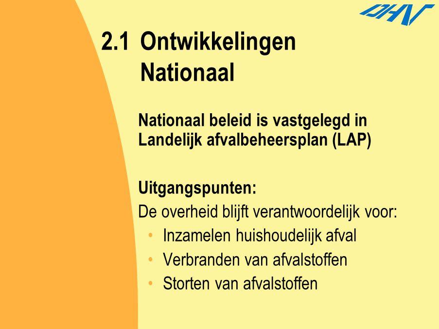 2.1Ontwikkelingen Nationaal Nationaal beleid is vastgelegd in Landelijk afvalbeheersplan (LAP) Uitgangspunten: De overheid blijft verantwoordelijk voo