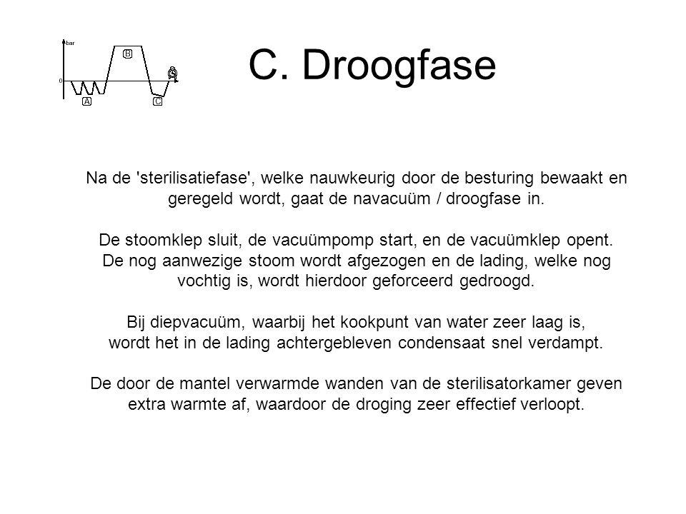 C. Droogfase Na de 'sterilisatiefase', welke nauwkeurig door de besturing bewaakt en geregeld wordt, gaat de navacuüm / droogfase in. De stoomklep slu