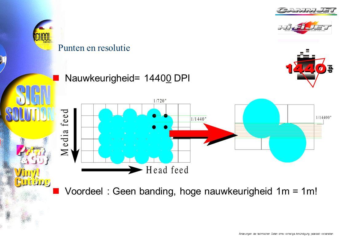 Änderungen der technischen Daten ohne vorherige Ankündigung jederzeit vorbehalten Punten en resolutie nNauwkeurigheid= 14400 DPI nVoordeel : Geen banding, hoge nauwkeurigheid 1m = 1m!