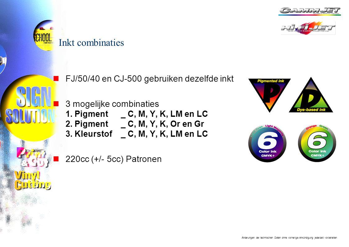 Änderungen der technischen Daten ohne vorherige Ankündigung jederzeit vorbehalten Inkt combinaties nFJ/50/40 en CJ-500 gebruiken dezelfde inkt n3 mogelijke combinaties 1.